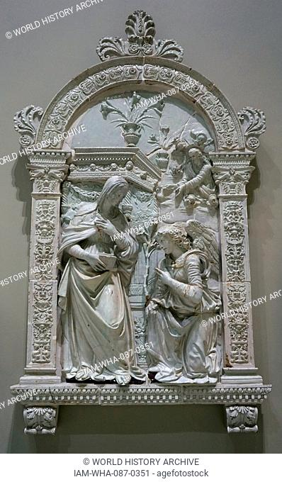 The Annunciation by Giovanni della Robbia (1469-1529) an Italian Renaissance ceramic artist. Dated 16th Century