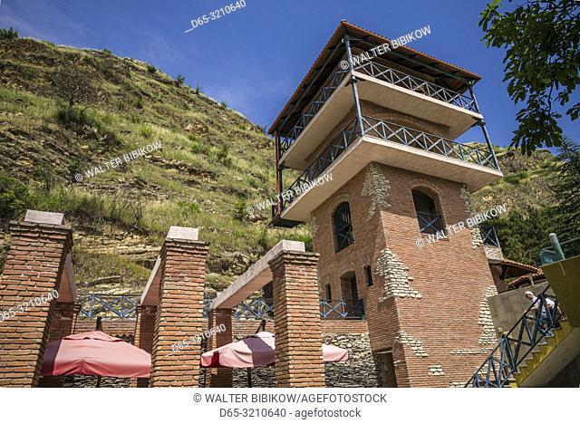Georgia, Kakheti Area, Kvareli, Winery Khareba, vineyards and winery tower