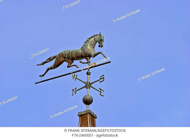 Copper horse Weathervane atop a barn at the Trustees of Reservations Governor Oliver Ames Estate in Easton, MA with bird sitting on it