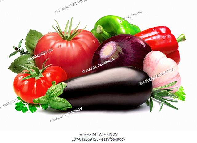 Heirloom tomatoes, bell peppers, herbs, onion, garlic, aubergine. Ratatouille raw ingredients. Clipping paths, shadow separated