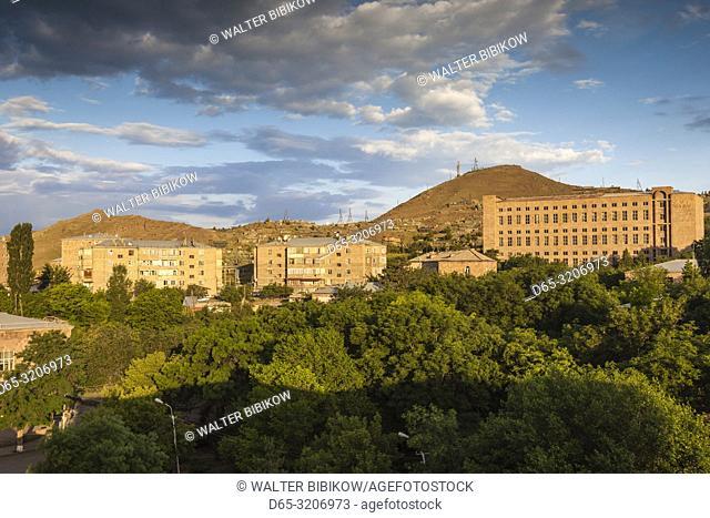 Armenia, Yeghegnadzor, high angle town skyline, dawn