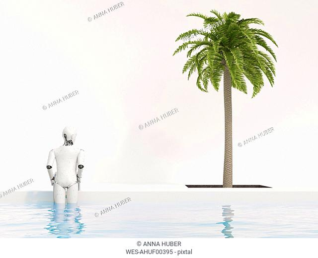 Robot getting out of swimming pool, 3d rendering