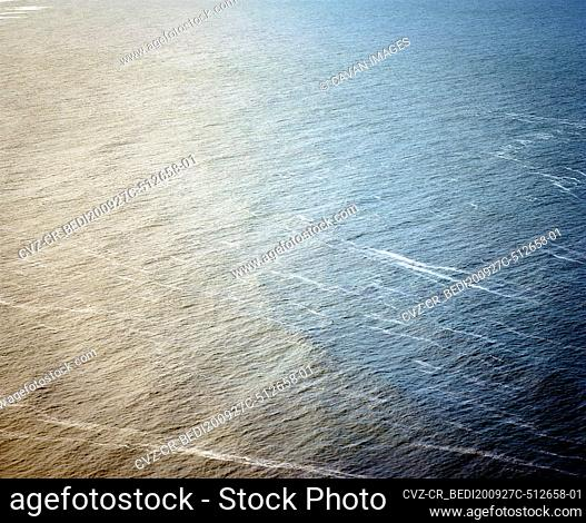 Orange and blue water texture on the Pacific Ocean