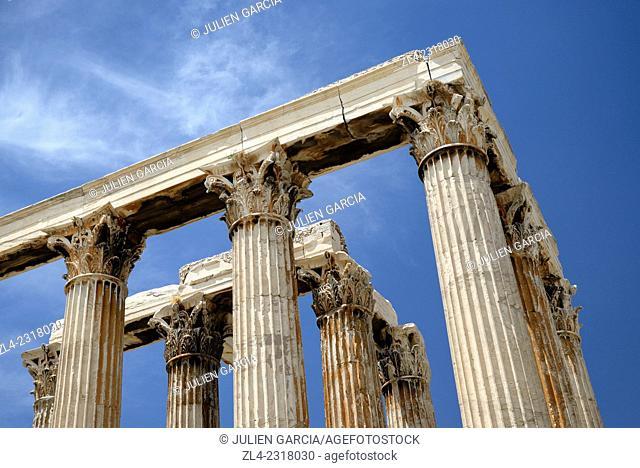 Corinthian columns of the temple of Olympian Zeus. Greece, Attica, Athens