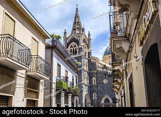 Basilica of Santa Maria Assunta seen from Via Umberto street in Randazzo town and comune in the Metropolitan City of Catania, Sicily, southern Italy