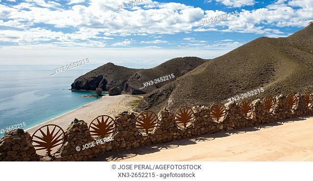 Los Muertos beach, Carboneras, Cabo de Gata-Nijar Biosphere Reserve, Natural Park, Almeria province, Andalucia, Spain, Europe