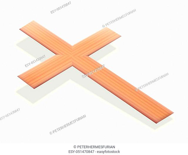 Christian cross floating just above the ground - isolated 3d vector illustration on white background