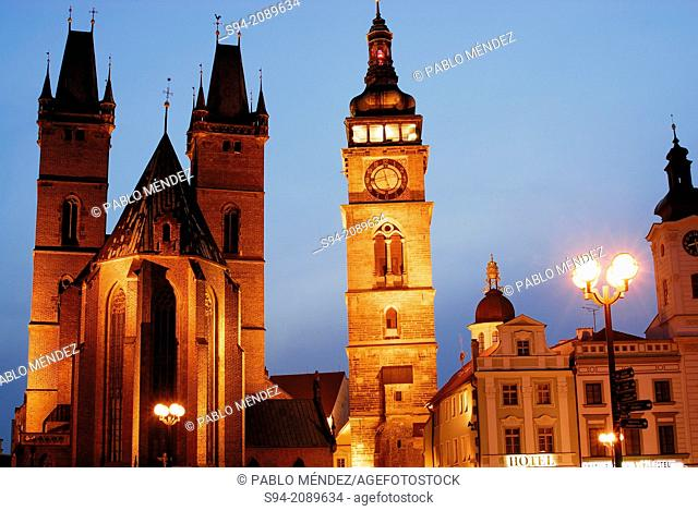 Gothic cathedral of the Holy Ghost, white tower and town hall in Velke square, Hradec Kralove, Bohemia, Czech Republic