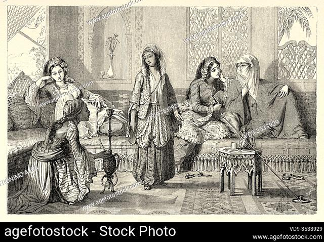 Harem women recreated with life-size figures. Topkapi Sarayi Sultan Palace, Istanbul, Turkey. Old 19th century engraved illustration, Le Tour du Monde 1863
