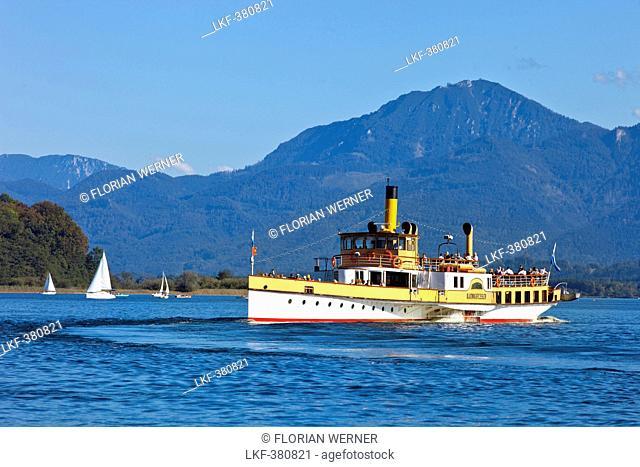 Paddlewheeler Ludwig Fessler on lake Chiemsee, Prien, Chiemgau, Upper Bavaria, Germany