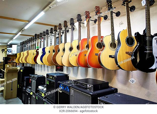 Specialist guitar retailer in the older part of Barcelona, Spain