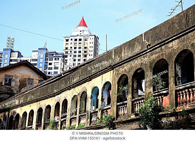 Old Haji Esmil building chawl mass urban housing ; Bandu Gokhale Road ; Cow Lane ; Girgaon ; Charni Road ; Bombay Mumbai ; Maharashtra ; India