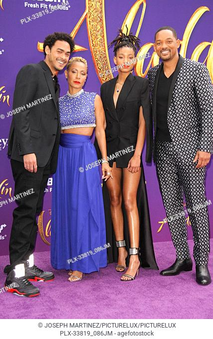 "Trey Smith, Jada Pinkett Smith, Willow Smith, Will Smith at The World Premiere of Disney's """"Aladdin"""" held at El Capitan Theatre, Hollywood, CA, May 21, 2019"