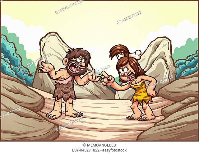 Cartoon caveman couple arguing. Vector clip art illustration with simple gradients. Some elements on separate layers
