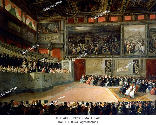 Academy of Music in Salone dei Cinquecento (Hall of the Five Hundred) in Palazzo Vecchio, Florence, 1845, painting by Ferdinand Folchi (1822-1883), 88x118 cm
