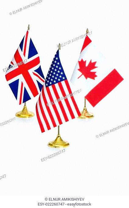 English speaking countries flags isolated on white
