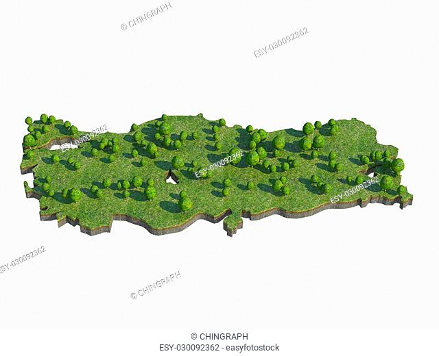 3d render of Turkey map section cut isolated on white with clipping path