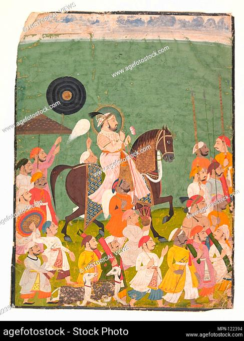 Maharana Jagat Singh II in Procession. Date: ca. 1745; Culture: India (Rajasthan, Mewar); Medium: Ink and opaque watercolor on paper; Dimensions: Excl