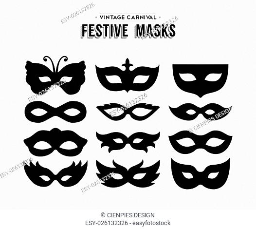 Set of festive vintage carnival masks silhouettes isolated over white. EPS10 vector