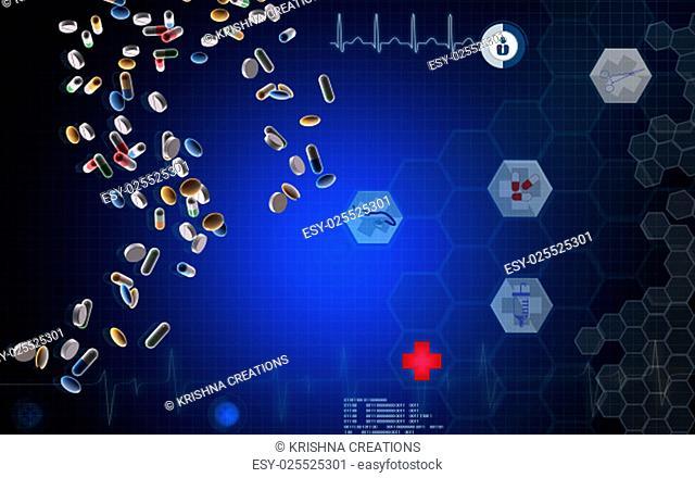 Digital illustration of capsule in color background