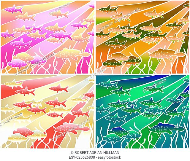 Four color versions of an editable vector illustration of fish in batik style