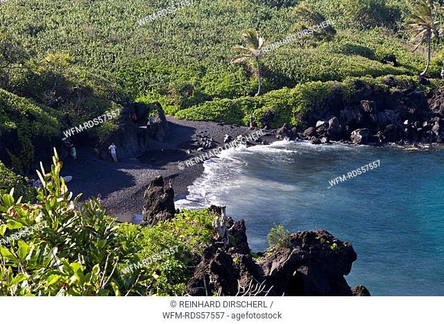 Black Sand Beach at Waianapanapa State Park on Road to Hana, Maui, Hawaii, USA