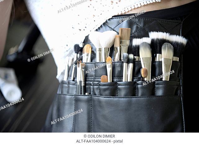 Makeup artist's brush pouch, close-up
