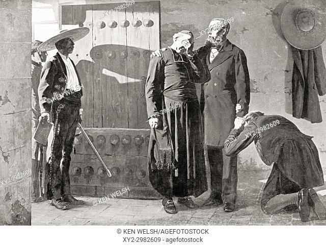 Last moments of Emperor Maximilian I of México before his execution by firing squad in 1867. Maximilian I of Mexico, 1832 - 1867