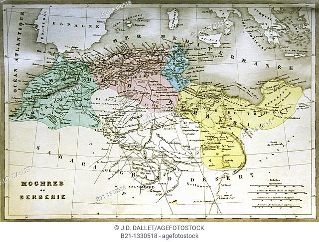 19th century map of Maghreb covering Morocco, Algeria, Tunisia and Lybia, North Africa