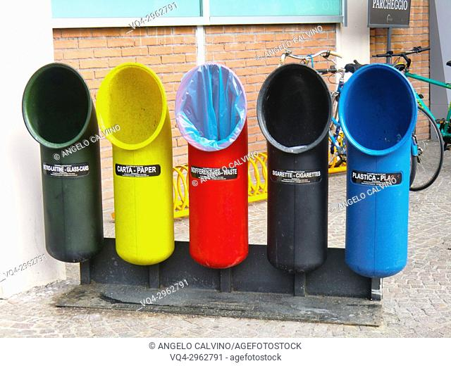 Multicolor Bins for Separate Waste Collection outside Eataly; Rome; Italian Food Emporium and Restaurants. The Former Terminal of Ostiense; Italy