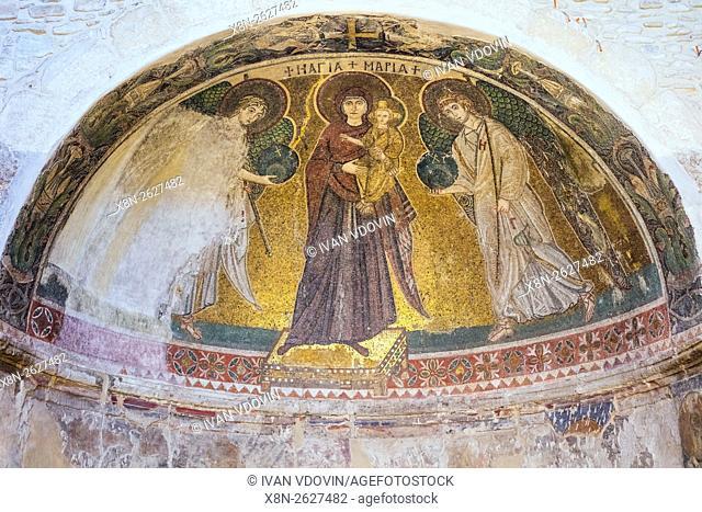 Mosaic with Holy Virgin (6th century), Panagia Angeloktisti church, Kiti, Larnaca, Cyprus