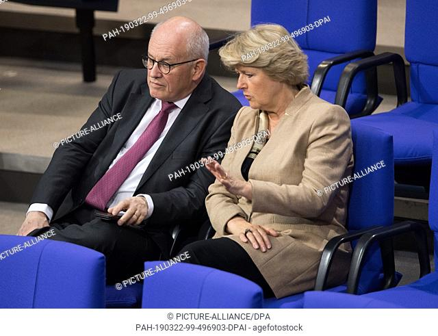 22 March 2019, Berlin: Volker Kauder, former CDU/CSU parliamentary party leader, and Monika Grütters (CDU), Federal Government Commissioner for Culture and the...