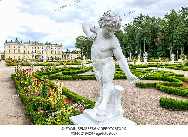 A statue of a faun in the gardens behind Banicki palace in Bialystok, Poland