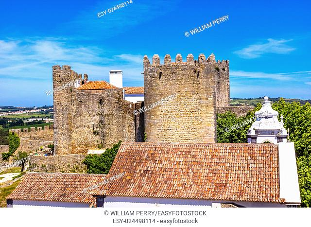 Castle Wals Turrets Towers Medieval Town Obidos Portugal. Castle and walls built in 11th century after town taken from the Moors