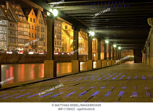 Pedestrian underpass on Ill River, night, Strasbourg, Alsace, France, Europe