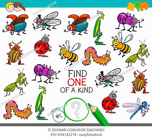 Cartoon Illustration of Find One of a Kind Educational Activity Game for Children with Insects Comic Characters