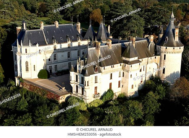 France, Loir et Cher, Loire Valley listed as World Heritage by UNESCO, Chaumont sur Loire, the castle aeriel view