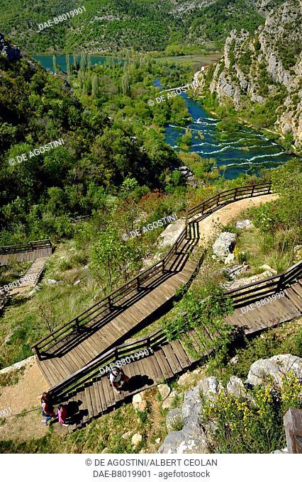 Walkway leading to the viewpoint over Roski Slap, Krka Waterfalls, Krka National Park, Croatia