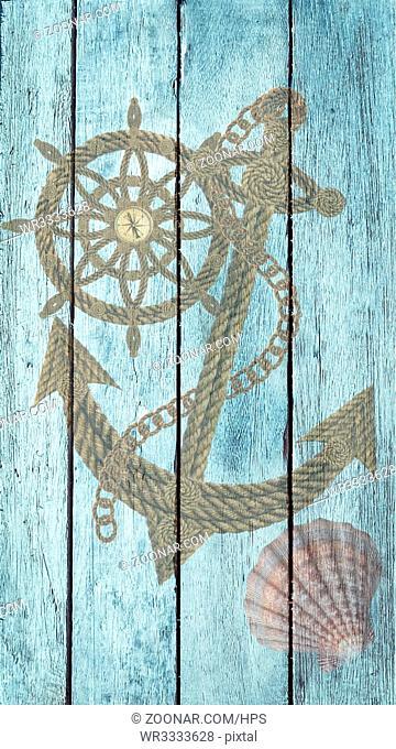 Kompass Anker Steuerrad aus alten Seilen auf Holz