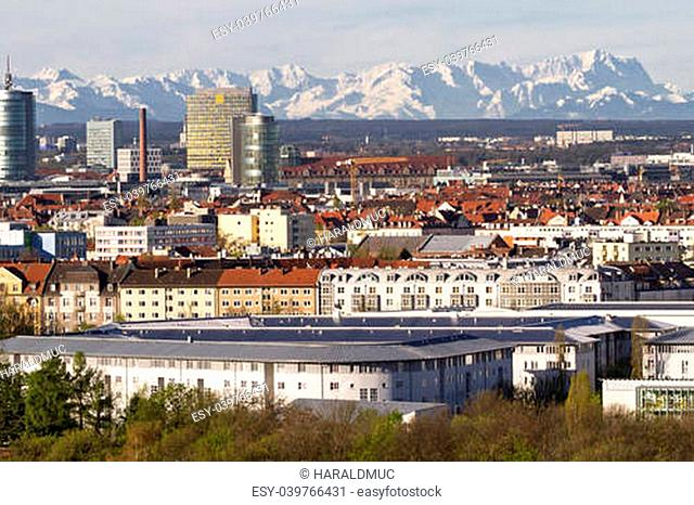 Munich with view of the bavarian alps at foehn wind