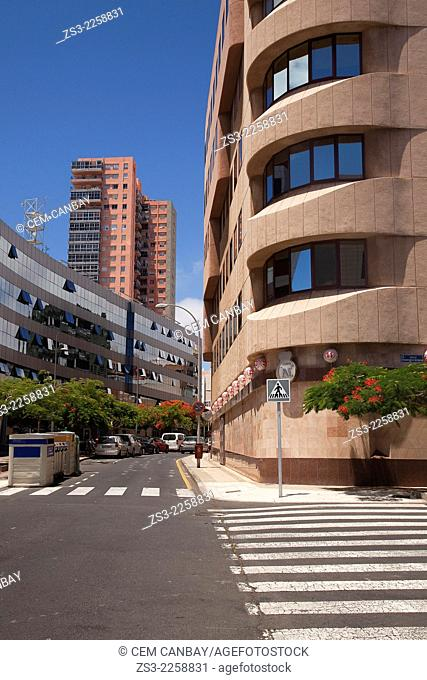 Modern and colorful buildings in town center, Santa Cruz de Tenerife, Tenerife, Canary Island, Spain, Europe