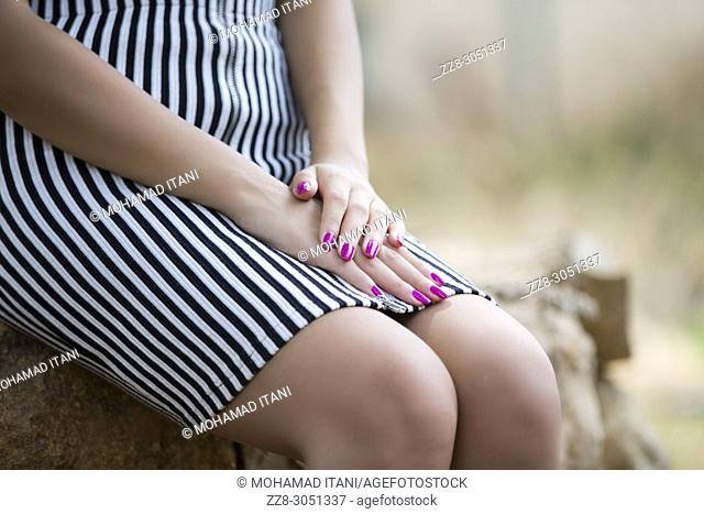 Close up of a young woman's hands