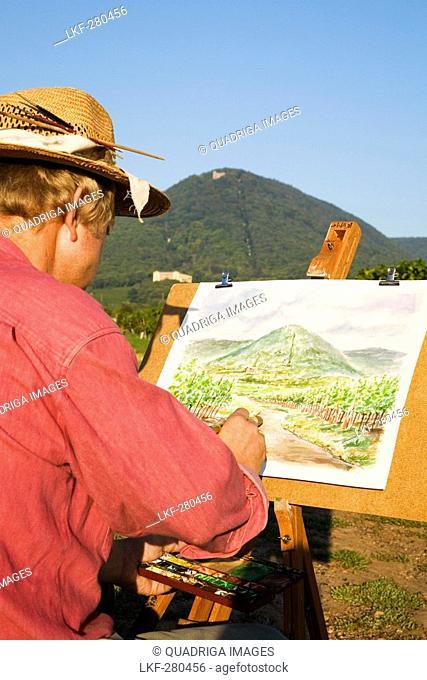 Man painting vineyards, Palace Ludwigshoehe, Edenkoben, Rhineland-Palatinate, Germany