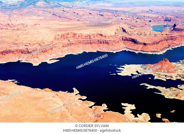 United States, Utah, Glen Canyon National Recreation area near Page, lake Powell (aerial view)