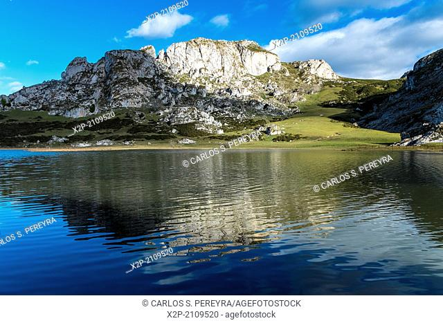 Landscapes around Lake Enol, one of the famous lakes of Covadonga, Asturias , Spain