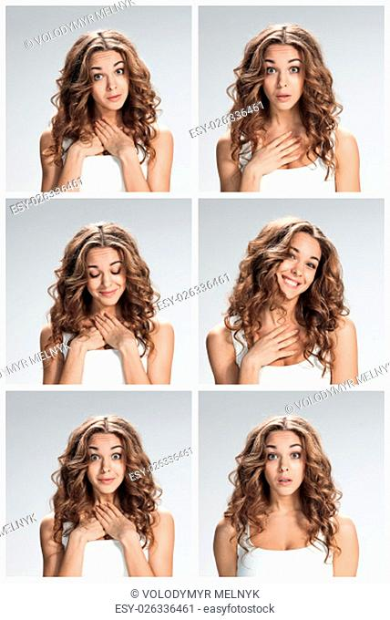 The set of portraites of young woman with shocked facial expression over gray background