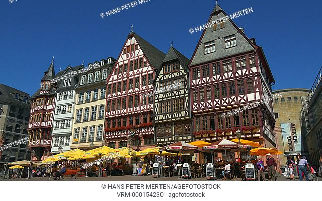 Half-timbered houses at Römerberg, Frankfurt am Main, Hesse, Germany