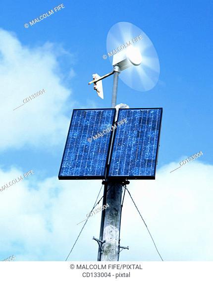Solar panel and small wind turbine for rural phone box, Scotland