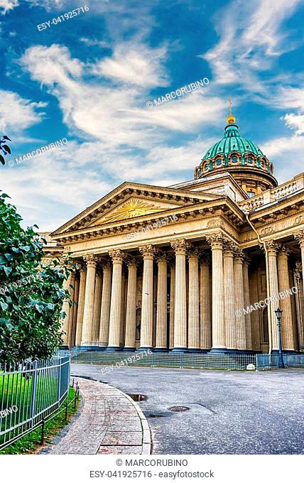 The iconic facade and colonnade of Kazan Cathedral, one of the main citysights in St. Petersburg, Russia