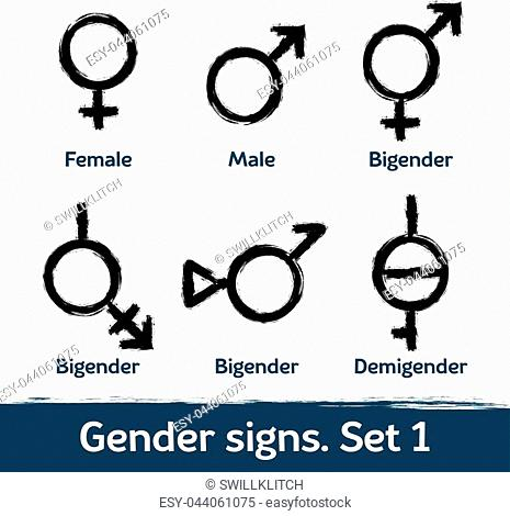 Gender signs drawn with brush. LGBT icons for diversity and equality of human rights and self-definition